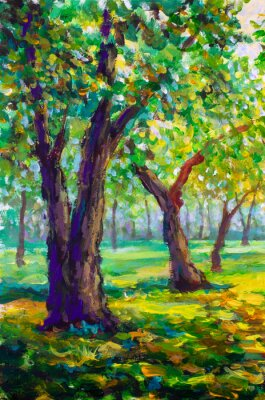Bild Original oil painting, contemporary style. Large big trees oaks in the park forest - sunny green spring landscape
