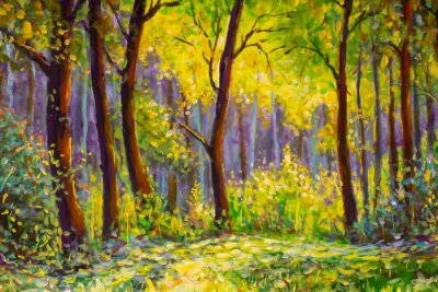 Bild Original oil painting, contemporary style, made on stretched canvas Sunny Park forest wood - green trees in the sunlight