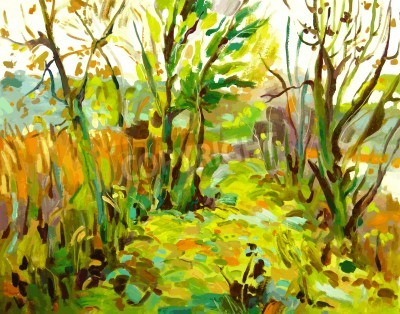Bild Original oil painting landscape with tree
