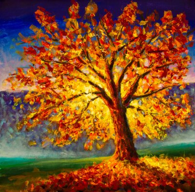 Bild Original oil painting on canvas art. Sunny autumn tree. Modern impressionism. Autumn gold yellow orange red tree in sun light landscape expressionism artwork oil acrylic painting