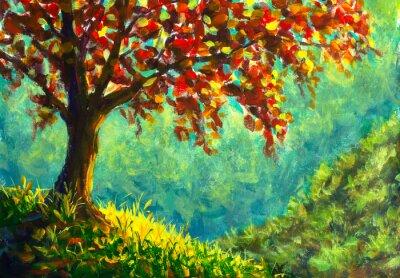 Bild Original oil painting on canvas. Autumn tree on sunny mountain side landscape. Modern art.