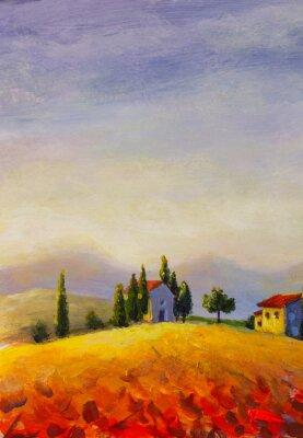 Bild Original oil painting on canvas beautiful sunset in Tuscany artwork; Italy landscape Modern art illustration.