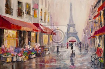 Bild Original Ölgemälde auf Leinwand - Paris - Eiffelturm - Ein Paar Liebhaber unter einem Regenschirm - Moderne Kunst