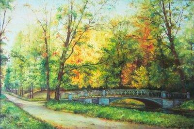Bild Original-Ölgemälde der Brücke in den Wald