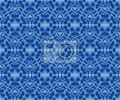 Original patterned fabric indigo dyed ikat seamless pattern.