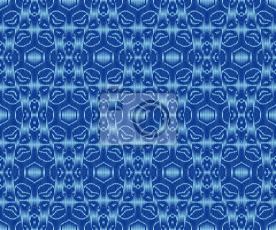 Original patterned textile texture indigo dyed ikat seamless pattern.