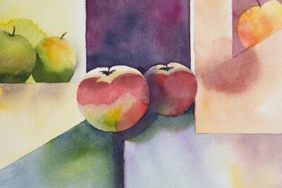 Bild Original watercolor, still life, apple design.
