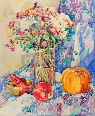 Bild original watercolor still life with flowers, pumpkin, apple, drapery and hot pepper, impressionistic painting, vector illustration