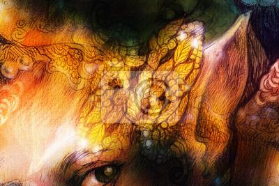 Ornamental leaf collage, head jewelry illustration