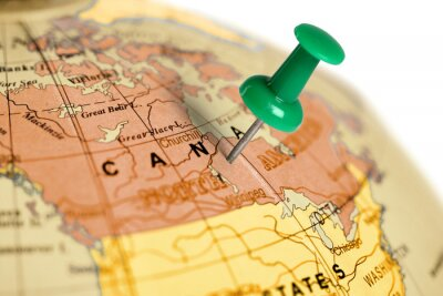 Bild Ort Kanada. Auf der Karte grün Pin.