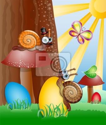 Ostern Bild mit Schnecken. Abbildung 10 Version