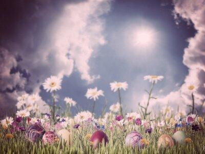Bild Ostern Jahrgang Hintergrund mit Eiern und Blumen