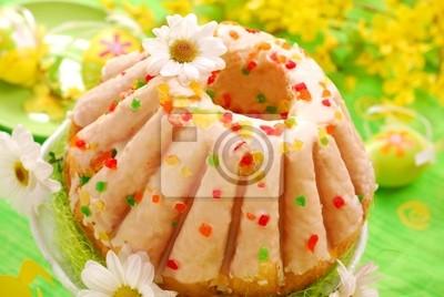 Ostern Ring Kuchen Mit Glasur Leinwandbilder Bilder Forsythie