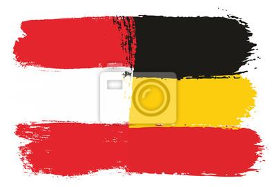 österreich Flagge U Deutschland Flaggen Vektor Handgemalt Mit