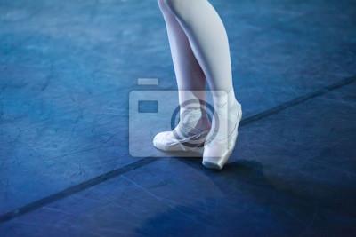Outfit, Zubehör, Ballett-Konzept. hellrosa pointe schuhe hat spezielle form für einzigartige füße des mädchens und zwei helle bänder auf jeder beine wickeln um ihre knöchel in entgegengesetzte richtun