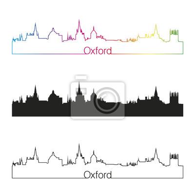 Bild Oxford Skyline linearen Stil mit Regenbogen