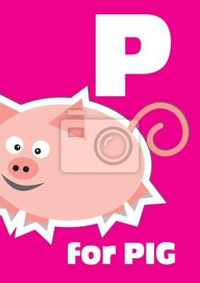 P für das Schwein, ein Tier-Alphabet für Kinder
