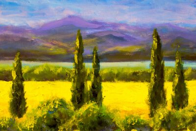 Bild Painting Italian tuscany cypresses landscape field mountains bushes horizontally art