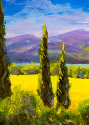 Bild Painting Italian tuscany cypresses landscape field mountains bushes vertically