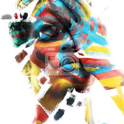 Bild Paintography. Double exposure of an attractive male model with closed eyes and hand covering face combined with colorful hand drawn paintings