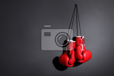 Bild Pair of boxing gloves on grey background, space for text