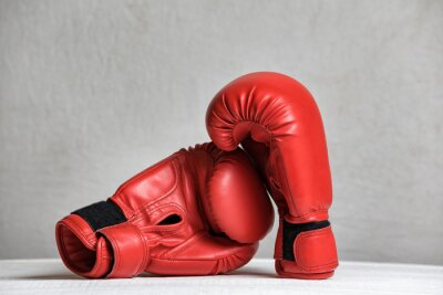 Pair of red boxing gloves on a white background. Close-up