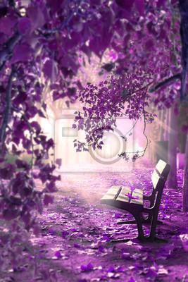 Paisaje surrealista. Espacio de fantasía en parque y banco de madera.Concepto místico y religioso del alma