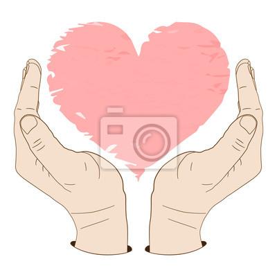 Palm up Hände sorgfältig schützen ein Herz oder etwas anderes. Vektor-Illustration, Symbol oder Logo, Element für Design oder Mode-Druck.