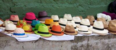 Bild Panamahüte für Verkauf an ein Open-Air-Markt in Bogota Col dargelegt