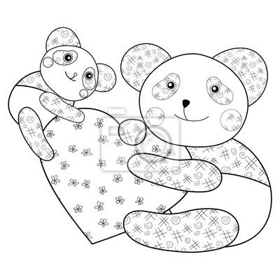 Panda mit herz kid färbung buch seite. leinwandbilder • bilder nubes ...