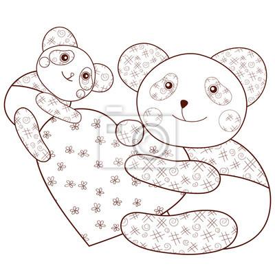 Panda mit herz kid färbung buch seite. brauner umriss ...
