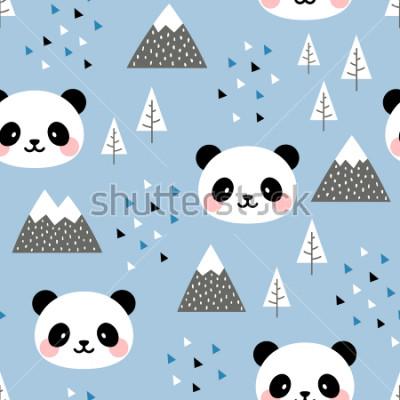 Bild Panda Seamless Pattern Background, skandinavischer glücklicher netter Panda im Wald zwischen Gebirgsbaum und Wolke, Karikatur Panda Bears Vector Illustration für Kinder nordischen Hintergrund mit Drei