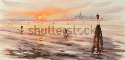 Bild Panorama von Venedig-Lagune bei Sonnenuntergang. Bild erstellt mit Aquarellen.