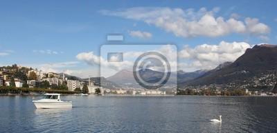 Panoramablick von Lugano in der Schweiz