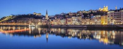 Bild Panoramablick von Lyon mit Saone Fluss in der Nacht