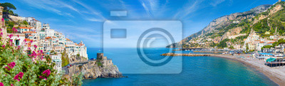 Bild Panoramic collage of Amalfi in province of Salerno, region of Campania, Italy