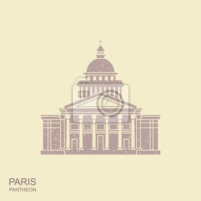 Pantheon in Paris, France. Landmark icon in retro style