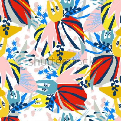 Bild Papier Collage der abstrakten Florenelemente Vektorillustrationshand gezeichnet Skizze bereit zum zeitgenössischen skandinavischen flachen Designplakat, Einladung, Postkarte, T-Shirt Design Nahtloses