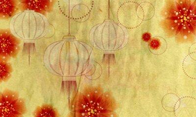 Bild Papierlaterne mit Blumen