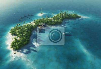 Paradise tropischen Insel in der Form von Wellen