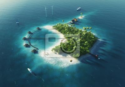 Paradise tropischen Insel, Windturbinen und Bungalows