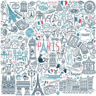 Bild Paris doodle set. Popular French landmarks, food and attractions. Vector illustration isolated on white background