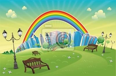 Park mit Regenbogen. Funny Cartoon und Vektor-Szene.