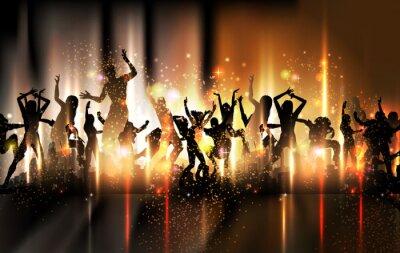 Party-Sound-Hintergrund Illustration mit tanzenden Menschen