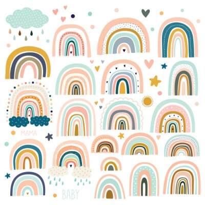 Bild Pastel stylish trendy rainbows vector illustrations