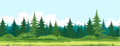 Bild Path along spruce forest with big green trees game background tillable horizontally, tourist route near the dense spruce forest and bushes in summer sunny day nature illustration background