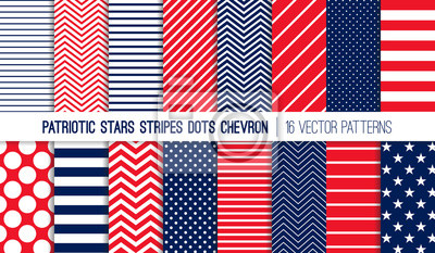 Bild Patriotic Red White Blue Stars, Stripes, Polka Dots and Chevron Vector Patterns. July 4th Independence Day Backgrounds. Diagonal, Horizontal and Zigzag Stripes. Pattern Tile Swatches Included.
