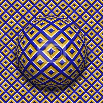 Patterned Ball rollt auf der gleichen Oberfläche. Motion Hintergrund und Fliesen nahtlose Wallpaper.
