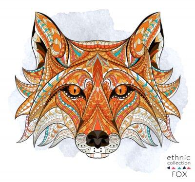 Bild Patterned Kopf des roten Fuchs auf dem Grunge-Hintergrund. Afrikanisch / indisch / Totem / Tätowierungentwurf. Es kann für die Gestaltung eines T-Shirt, Tasche, Postkarte, ein Poster und so weiter ver