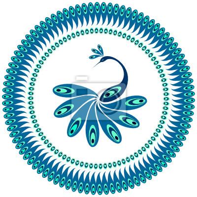 Peacock. Dekorative Muster für Platte.